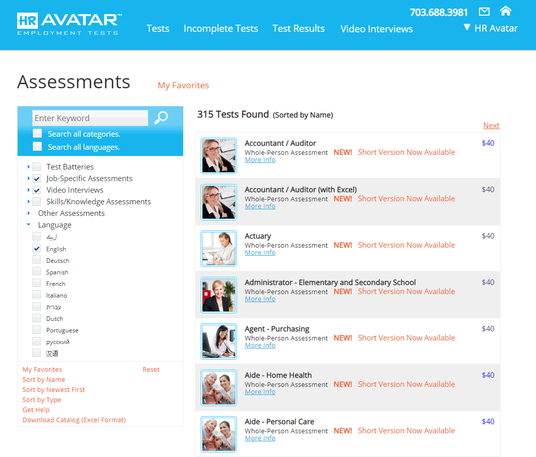 HR Avatar has Upgraded its Standard Job Specific Tests